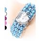 Bracele Relógio Japanês Quartzo Banda Pérolas Elegantes Branco Preto Roxo Azul Rosa claro