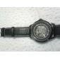 남성용 스켈레톤 시계 기계식 시계 오토메틱 셀프-윈딩 중공 판화 가죽 밴드 럭셔리 블랙