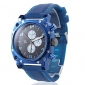Men's Blue Square Case Silicone Band Quartz Wrist Watch