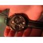 Oulm 남성용 밀리터리 시계 손목 시계 석영 일본 쿼츠 듀얼 타임 존 PU 밴드 블랙