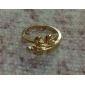 Golden Plated Alloy Leaf Pattern Ring