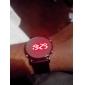 남녀공용 젤리 스포츠스타일의 둥근 거울페이스가있는 빨간빛 LED 손목시계 - 블랙