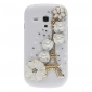 Bling Bling Noble Eiffel and Flower Design Hard Case with Rhinestone for Samsung Galaxy S3 Mini I8190