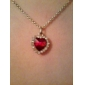 Eruner®Classic Austrian Crystal Heart Pattern Necklace (Red)