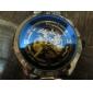 SHENHUA® Men's Auto-Mechanical Hollow Dial Black Steel Band Wrist Watch Cool Watch Unique Watch