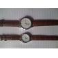 paire de unisexe montre-bracelet analogique pu quartz (marron)