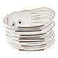 bracelet blanc anneau métallique en cuir multicouche bracelet large