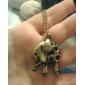 Antique Copper Hollow-Out Elephant Necklace