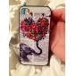 iPhone 4/4S를위한 코끼리 꽃을 들고 색깔 그리기 패턴 블랙 프레임 PC 단단한 상자