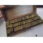 26 cartas de la vendimia& 10 números& 6 símbolos de madera patrón de sellos de sello con la caja