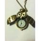 Masculino Mulheres Unissex Relógio de Bolso Quartzo Banda Vintage Corujas Bronze