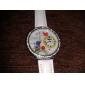 Women's Flower Style PU Analog Quartz Wrist Watch (White)