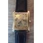 WINNER Masculino relógio mecânico Relógio de Pulso Automático - da corda automáticamente Gravação Oca PU Banda Luxuoso Preta Preto