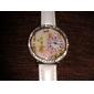 여자의 3D 꽃 본 디아 망테 다이얼 PU 밴드 석영 아날로그 손목 시계 (분류 된 색깔)