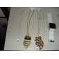 lureme®black кристалл кошка позолоченные сплава ожерелье