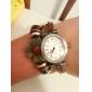 Women's Vintage Style Flower Pendant Brown Leather Band Quartz Bracelet Watch