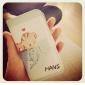 Capa Rígida com Desenho de Gato e Peixe de Couro para iPhone 4/4S