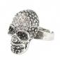 rhinestone crânio cravejado de moda anel