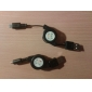 Retractable USB to Micro USB Cable (Black) 0.6M