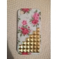 Golden Square Rebites coberto Escadas e Rose Pattern Hard Case com cola para iPhone 4/4S