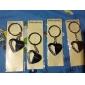 Presente personalizado 4pcs Heart Shaped gravador Keycahin com strass