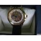 Caso oca padrão PU analógico relógio de pulso mecânico de ouro dos homens (cores sortidas)