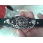 남자의 3D 두개골 본 둥근 다이얼 PU 밴드 석영 아날로그 손목 시계 (분류 된 색깔)