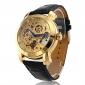Masculino Relógio Esqueleto relógio mecânico Automático - da corda automáticamente Gravação Oca imitação de diamante PU Banda Luxuoso