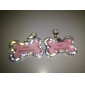 Chien Tags ID Etiquettes Strass Os Alliage Argent