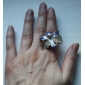 Flower Shape Colored Glaze Adjustable Alloy Ring