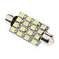 차 독서 램프 꽃줄 41mm 1.5W 16xSMD3528 화이트 라이트 LED 전구 (12V)