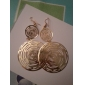(1 Pair)Vintage (Hollow circle) Golden Alloy Drop Earrings