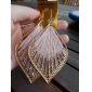 European Tassels (Diamond Shaped Drop) Gold Alloy With Pink Fabric Drop Earrings (1 Pair)