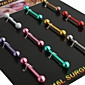 Body Piercing Jewellery Unisex Barbell Navel & Bell Button Nose Ring(12 PCS Per Package,Mixed Color)