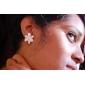 Brincos Curtos Cristal Esmalte Liga Formato de Flor Jóias Para Diário