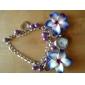 아가씨들 패션 시계 팔찌 시계 석영 스테인레스 스틸 밴드 꽃패턴 블랙 블루 그린 핑크 퍼플
