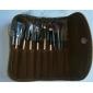 7 pcs brosse de maquillage de laine mis un étui en cuir brun gratuitement