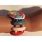 Женская цветочным узором Белый Бор Дело Эластичный Красочный группы кварцевые часы браслет