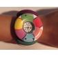 Women's Flower Pattern White Wood Case Elastic Colorful Band Quartz Bracelet Watch Cool Watches Unique Watches Fashion Watch