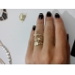Gold Plated Alloy Ring Set(Star Pattern+Cross Pattern+Heart Pattern)