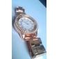 여성 손목 시계 큰 다이얼 라인 스톤 골드 시계 장미