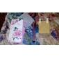 COCO FUN Bela Padrão Rosa Flor PU Leather Case Full Body ® Com Filme, Stand And Stylus para iPhone 4/4S