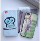Etui Portefeuille Coco Fun® pour iPhone 4/4S avec Support, Port Cartes, Stylet et Protection Ecran, Motif Hibou Endormi