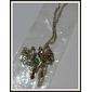 pavões dobro do vintage forma liga de prata pingente de colar (1 pc)