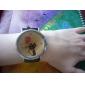 여자의 만화 고양이 본 까만 PU 밴드 석영 아날로그 손목 시계