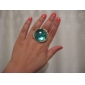 European And American Big Retro Green Bronze Carved Gemstone Ring Exaggerated
