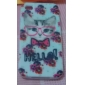 Flower and Cat Pattern Silicone Soft Case for iPhone4/4S