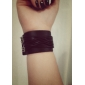 Retro Punk Estilo PU pulseira de couro projeto da listra