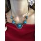 bohème européen classique (de gemme bleue) de collier déclaration d'alliage d'or (1 pc)