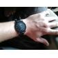 남자의 까만 케이스 PU 아날로그 석영 손목 시계 (블랙)